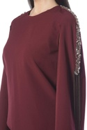 Maroon pant set with embellishments