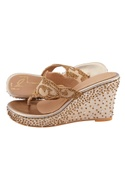 Rose gold hand embroidered wedges