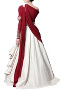 Deep red & ecru embellished sari gown
