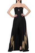 Black jumpsuit with fringed flare