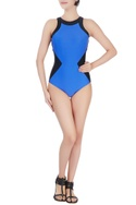 Blue one-piece swimsuit