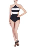White halter nylon swimsuit