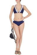 Navy blue frills bikini set