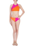 Pink & orange tie up swimsuit