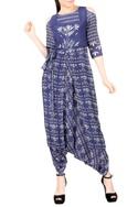 Blue & white dhoti jumpsuit