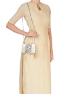 Beige clutch with white crystal stones
