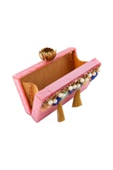Pink rectangle shaped clutch