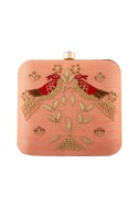 Peach zardosi embroidered clutch