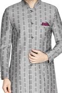 Grey printed sherwani & churidar pants