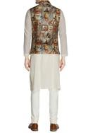 Multicolored printed nehru jacket & churidar pants