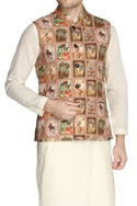 Multicolored abstract printed nehru jacket set