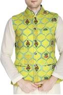 Yellow printed Nehru jacket