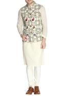 Multicolored floral themed nehru jacket set