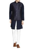 Navy blue printed nehru jacket set