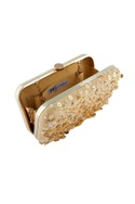 Beige clutch with sequin embellishments