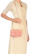Peach clutch with multicolored sequin work