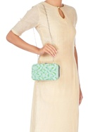 Blue & green bead embellished clutch