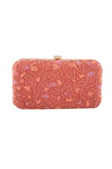 Coral pink bead embellished clutch