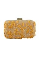 Orange clutch with floral motifs