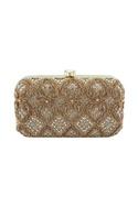 Gold cutwork embellished clutch