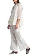 White wide legged trousers