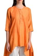 Orange kurta with pleated back