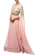 Pink raw silk & net gown with cowl sleeves