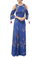 Royal blue cold-shoulder hand embroidered gown