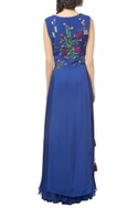 Navy blue georgette floral gown