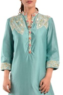 Blue chanderi silk kurta