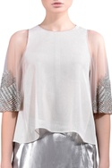 Beige sheer embroidered top
