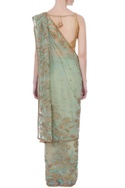 Sea green sari with blouse-piece & petticoat