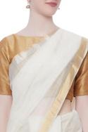Off white zari classic sari
