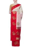 White peacock motif zari sari