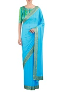 Sequin & thread embroidered sari with blouse