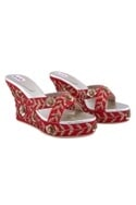 Red kundan wedge heels