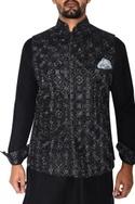 Black & grey embroidered nehru jacket set