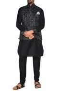 Black & grey linen nehru jacket