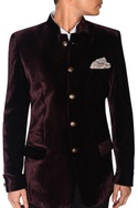 Burgundy velvet bandhgala with pocket square