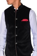 Blue velvet nehru jacket