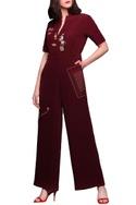 Dark red embroidered jumpsuit