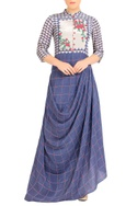 Purple cowl draped dress