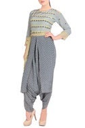 Blue & yellow dhoti style jumpsuit