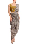 Yellow concept sari with sleeveless blouse