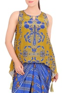 Blue & mustard printed draped gown