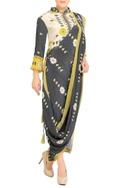 Charcoal grey & yellow printed sari with jacket