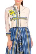 Blue stripe jumpsuit with short jacket
