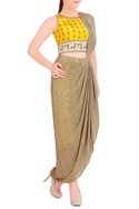 Yellow printed concept sari with blouse