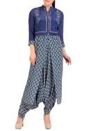 Blue dhoti jumpsuit with short jacket