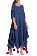 Blue tassel asymmetrical dress